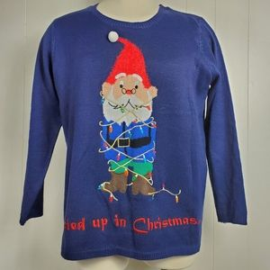 Elf tied up Ugly Christmas sweater